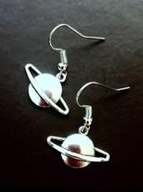 Saturn Planet Silver Tone Drop Dangle Earrings  - $6.00