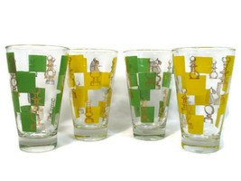 Set of 4 Retro High Ball Tumbler Glasses Chess Pieces Yellow Green Squares - $39.59