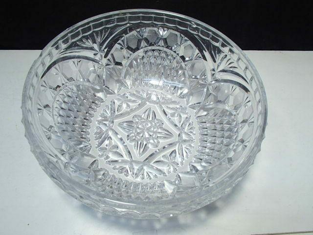 "Gorgeous Cut Crystal Center Bowl 3 5/8"" x 8 1/2"""