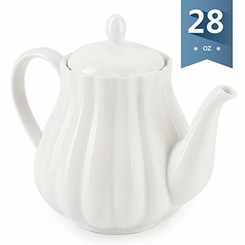 Sweese 222.101 Ceramic Teapot Pumpkin Fluted Shape, White - 28 Ounce