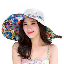 ISHOWTIENDA Summer Hats For Women Print Two-Side Big Brim Straw Hat Sun ... - $10.31
