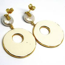 Silver Earrings 925 Hanging Pearls Baroque Style Flat, Ovals Effect Leopard image 3