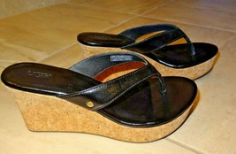 UGG Women's Black Patent Look Strappy Cork Wedge Sandals Womens Size 6 - $55.99