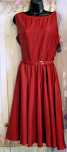 Gorgeous Red Flared Satin Gothic Rockabilly Dress Size 14, Calf Length, Lined - $39.81