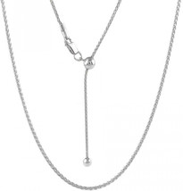 Sterling Silver 1.3MM Adjustable Wheat Chain Necklace 24' - Adjustable Fox Tail  - $86.42