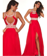Red beaded Chiffon Long Prom Dresses High Slit Ruffle Formal Pageant Gow... - $180.00