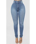fashion nova NWT women's dare Devil high rise skinny jeans size 13 blue - $18.32
