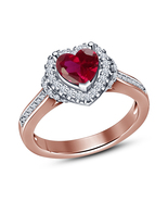 Rose Gold Plated Pink Simulated Diamond Love Heart Ladies Engagement Cha... - $52.38