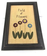 Field of Flowers Needlework Framed Primitive Wall Decor - $30.00
