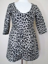 Loeffler Randall Romper Small Women leopard print wool blend 3/4 sleeve - $34.64