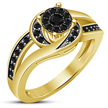 Yellow Gold Plated 925 Silver Round Cut Diamond Womens Engagement Wedding Ring - $72.99