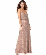 Adrianna Papell Embellished Blouson Gown Dress Sz 14 Taupe pink - $130.05