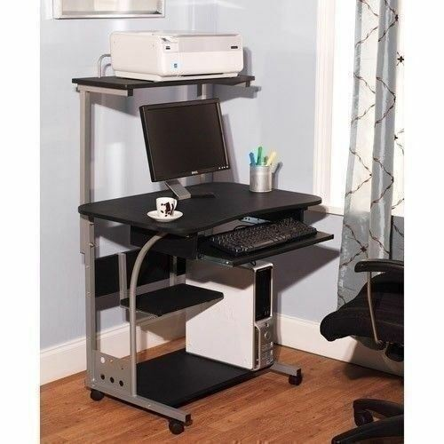 Black Mobile Computer Tower Desk Printer Shelf Laptop Table Top Home Office Cart
