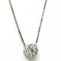 18K WHITE GOLD NECKLACE CENTRAL FRAME DIAMONDS .09 FLOWER PENDANT VENETIAN CHAIN image 2