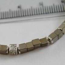 BRACELET GIADAN SILVER 925 HEMATITE GLOSSY AND DIAMONDS WHITE MADE IN ITALY image 2