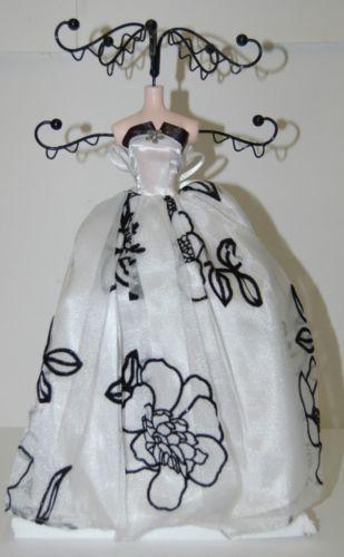White Dress Black Velvet Flowers 051783 910 Jewelry Holder 12 Inches