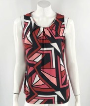 Worthington Sleeveless Top Medium Red Pink Black Printed Stretch Blouse ... - $19.80
