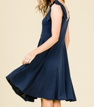 Navy Swing Dress, Navy Circle Skirt Dress, Sleeveless Dress with Empire Waist image 6