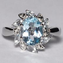 Natural Oval Blue Topaz Flower Ring Womens Sterling Silver December Birt... - $69.00