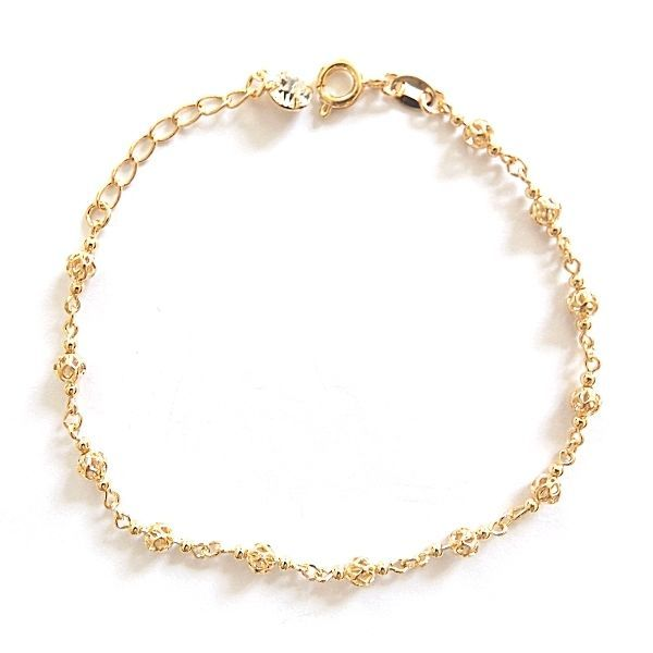 Primary image for GOLD PLATED HIGH QUALITY NICKLE FREE CHARM BRACELET TINY BALLS GOLDEN ADJUSTABLE