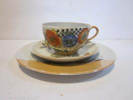 VINTAGE LUSTERWARE ORANGE & WHITE TEA CUP SAUCER & DESSERT PLATE FLORAL ... - $9.99