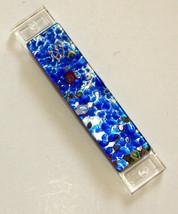 Murano Glass Handmade Mezuzah Case w 9 cm Scroll Blue Silver Leaf Judaica