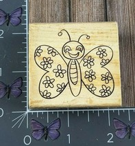 Craft Smart Happy Butterfly Flower Rubber Stamp Wood #AO10 - $3.71