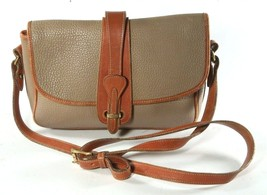 Vintage Dooney & Bourke Taupe & British Tan Leather Cross Body Shoulder ... - $43.99