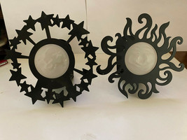 2 BLACK METAL VOTIVE WALL CANDLE HOLDER * STARS WITH FROSTED GLASS MOON ... - $6.93