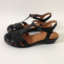 NEW Easyspirit black genuine leather soft cushioned retro style sandals ... - $30.00