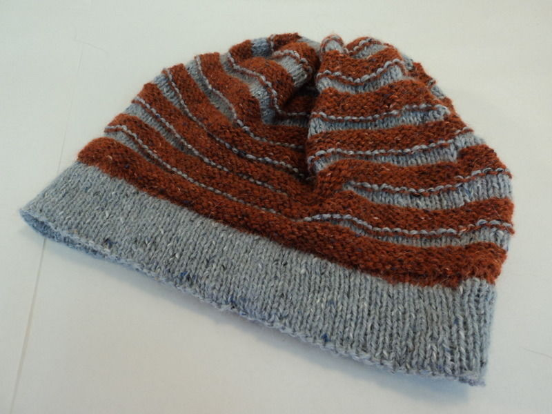 Handcrafted Ridged Slouchy Hat Rust Gray Merino Wool Alpaca Vicose Mix Female