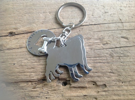 Two Pugs Custom Keychain Dog Lover Handstamped. Pug jewelry. - $24.00