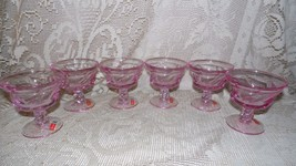 Vintage Fostoria With Seal Jonestown Pink Glass Sherbet Pudding Glasses Set Of 6 - $64.30