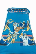 """Vintage Sears NFL 2 Flat Bed Sheets Bunk Size 106 x 60"""" & Curtain 1970s-80s - $98.01"""