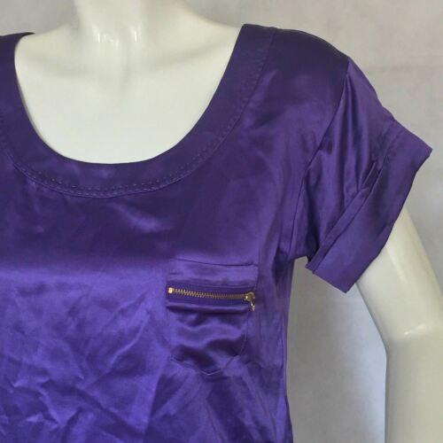 DVF Diane Von Furstenberg Purple top blouse 100% silk size 0 Career work image 7