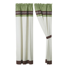 4-Pc Bailey Curtain Set Drape Sheer Liner|Clover Scroll Floral|Green Brown Beige - $40.89