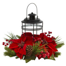 Nearly Natural Poinsettia Berry Pine Artificial Arrangement Candelabrum Decor - $71.19
