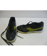Diadorra Boys Size 5 Indoor Soccer Shoes Black Leather Yellow Soles 10 I... - $15.82