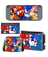 Nintendo Switch Console Joy-Con Skin Mario vs Sonic Vinyl Decals Sticker... - $9.50