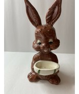 VINTAGE Ceramic Brown Easter Bunny EASTER Holding Egg 1974 - $17.75