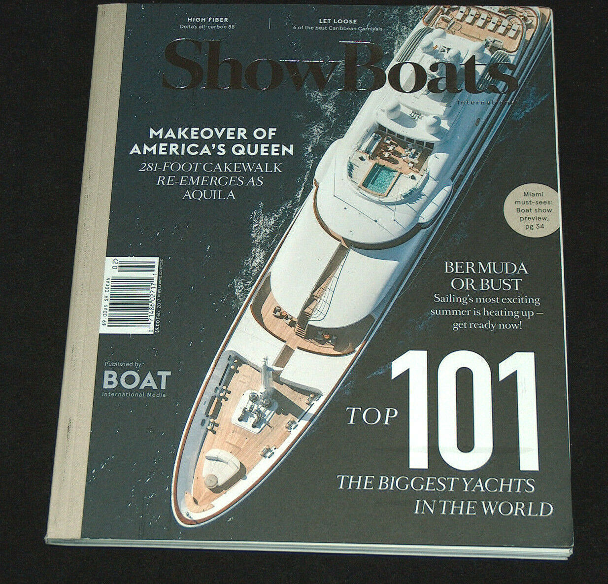 Primary image for ShowBoats International February 2017 281ft America's Queen Aquila Yachts Boats
