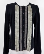 CAbi Black Tuxedo Fringe Cashmere Cotton Cardigan Sweater Small Broadway... - $20.50