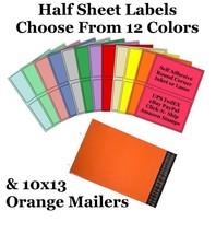 10x13 ( Orange ) Poly Mailers + Colored Half Sheet Self Adhesive Shippin... - $1.99+