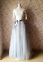 Extra long Maxi TULLE SKIRT Women Gray Long Tulle Skirt Full Maxi Tutu Skirt NWT