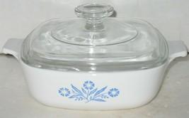 Vtg 1 Quart Corning Ware Blue Cornflower Casserole Dish w/Glass Lid P-1-B - $28.71