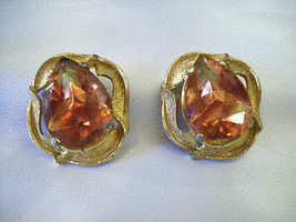Elizabeth MORREY Watermelon ORANGE Big TEARDROP Clip on Earring Vintage ... - $19.80