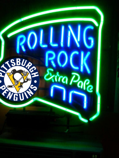 """New Rolling Rock Extra Pale NHL Pittsburgh Penguins Beer Neon Sign 24""""x20"""""""