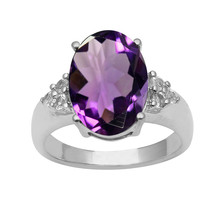Amethyst & White Topaz Gemstone 925 Sterling Silver Wedding Anniversary ... - $33.29