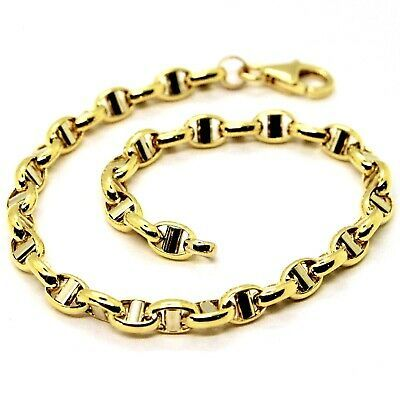 "18K YELLOW GOLD 4 MM OVAL NAVY MARINER NAUTICAL BRACELET 7.50"" 19 CM ITALY MADE"
