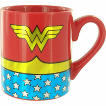 Wonder Woman Costume Gold Foil Mug Red - $14.98